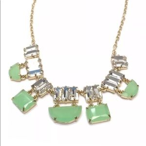 Kate Spade Bib Necklace Green Clear Crystals